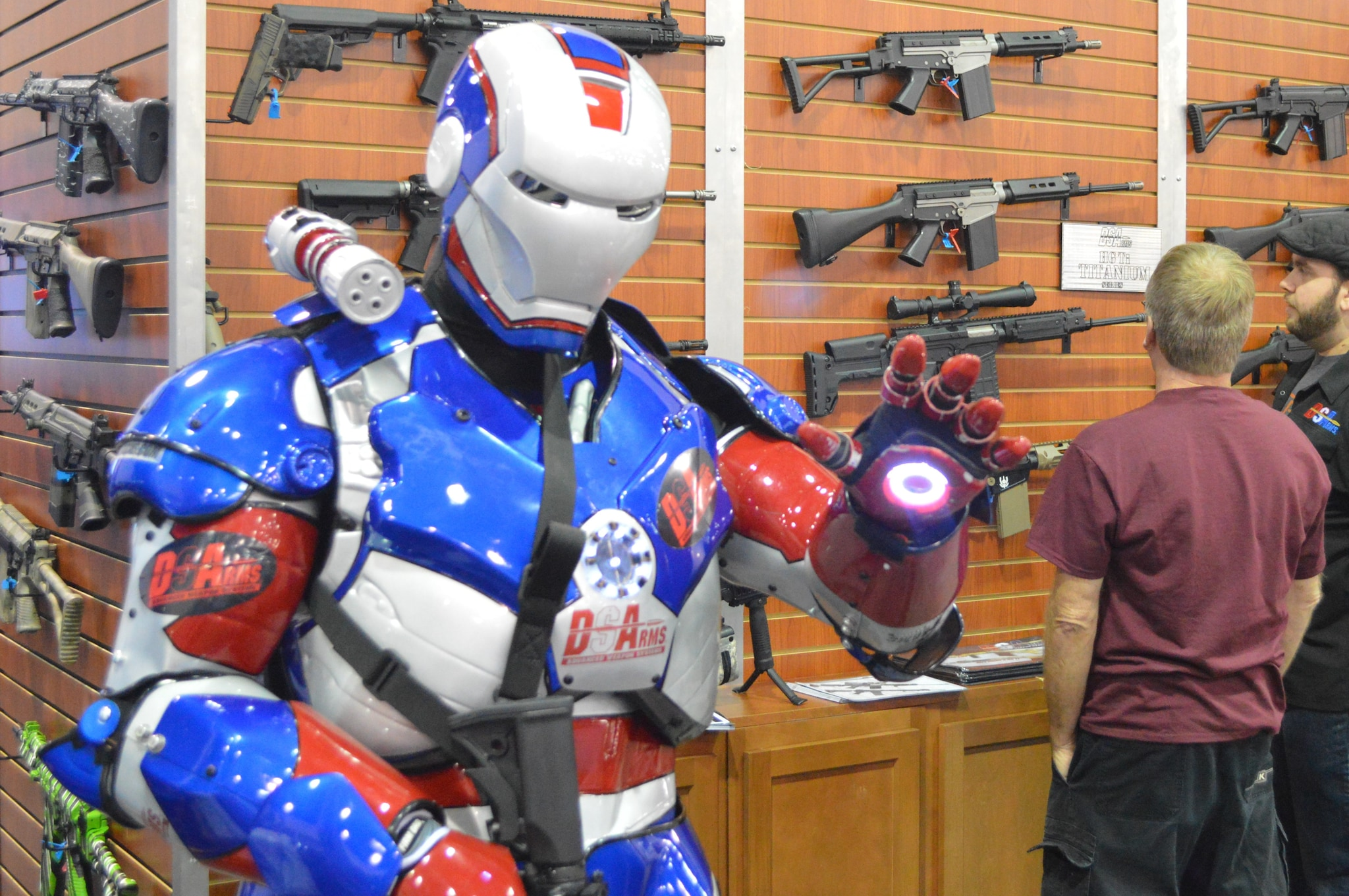 The patriotic, lighted-suit dude at DS Arms was an attention grabber at the company's booth. (Photo: Kristin Alberts/Guns.com)