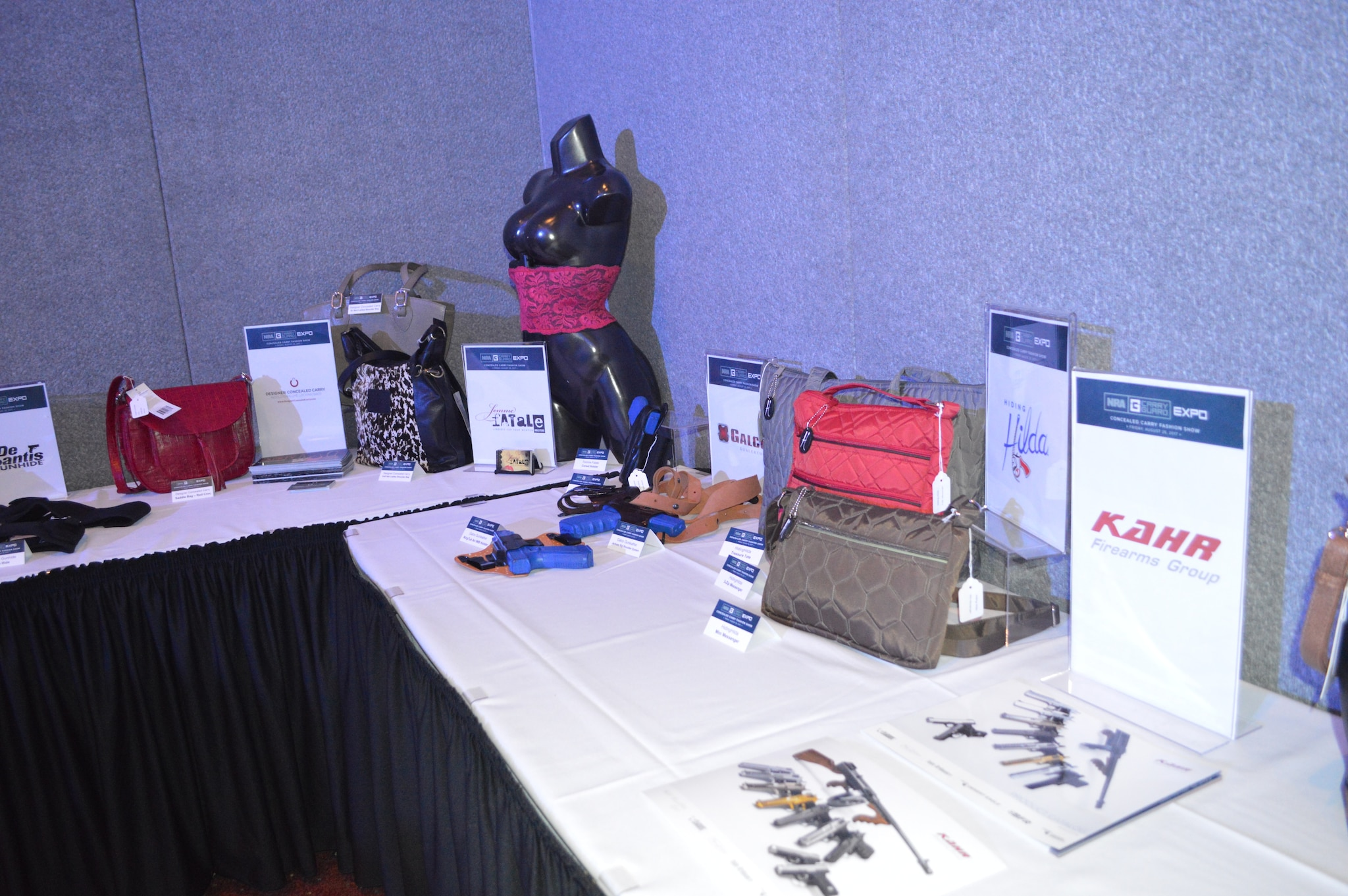 A sampling of the products featured in the fashion show. (Photo: Kristin Alberts/Guns.com)