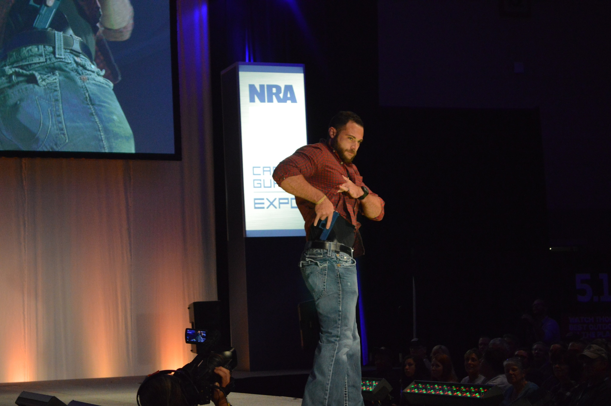 Fashion shows are not just for women, as plenty of gentlemen showed their runway prowess. Here is a nice IWB solution from CrossBreed Holsters. (Photo: Kristin Alberts/Guns.com)