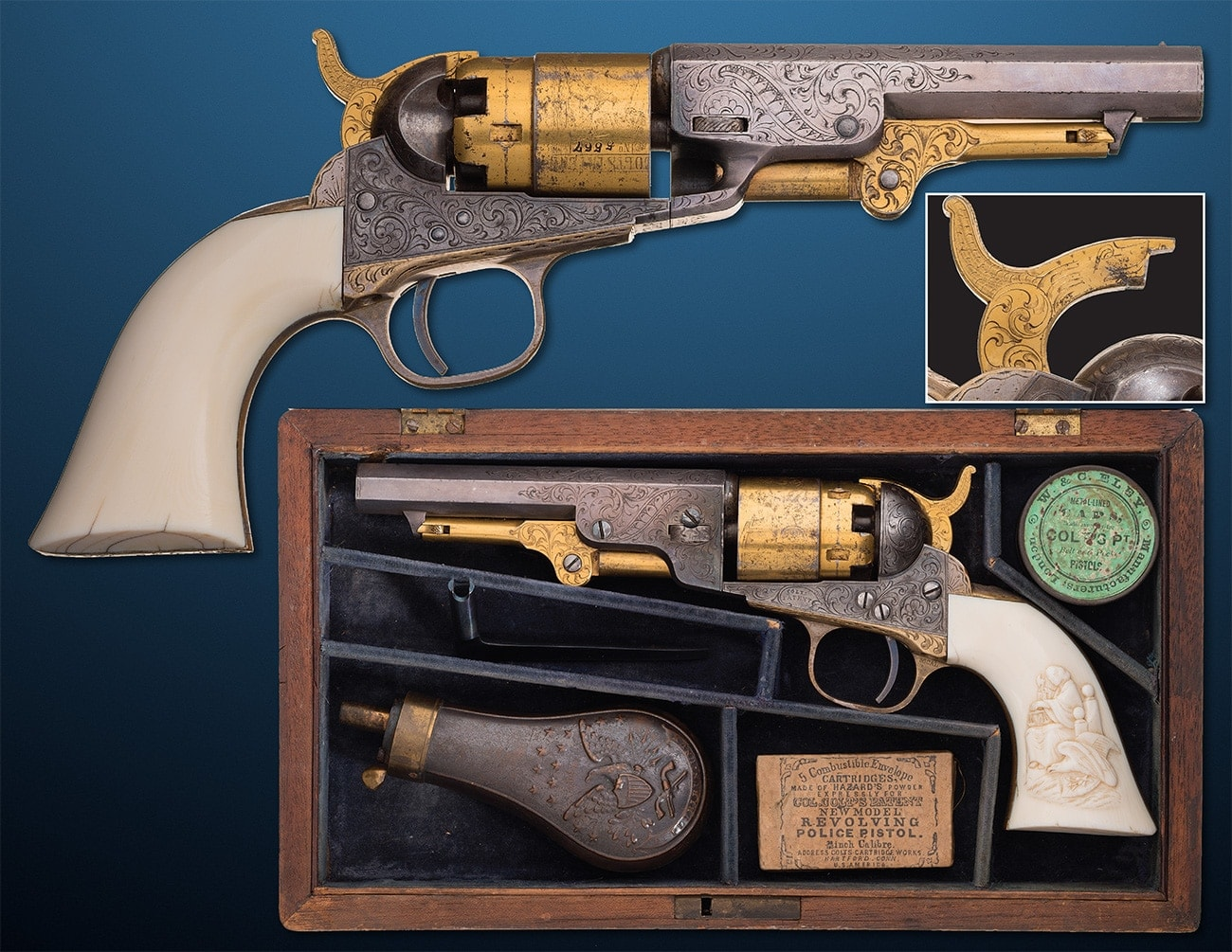How about a tri-color factory engraved Colt Model 1862 Pocket Navy with a 4.5-inch barrel and ivory grips. $40,000 - $60,000