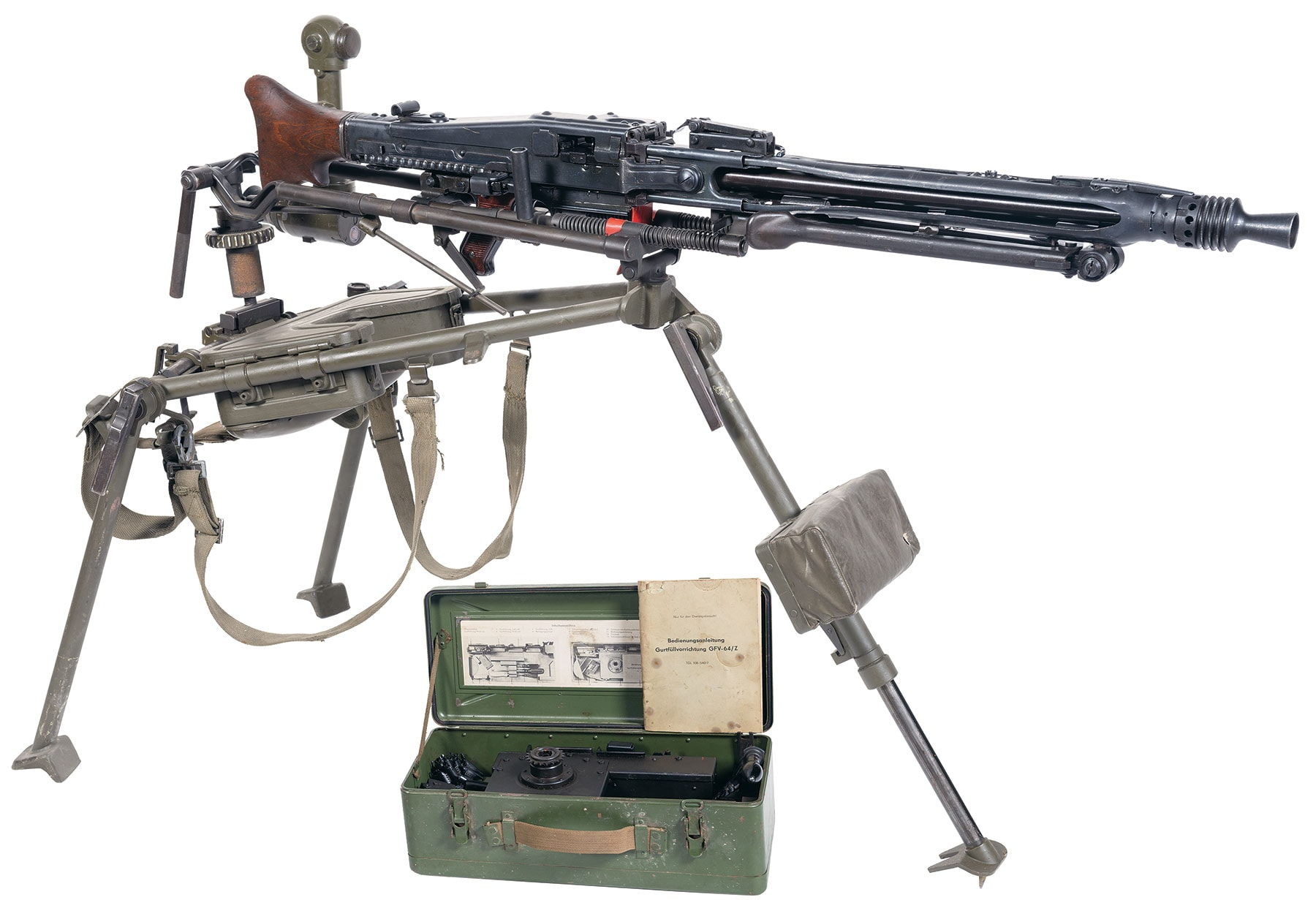 If belt-fed at 1,200 rpm is more your thing, how about this Gustloff Werke-Suhl MG42 light machine gun complete with a 1944-stamped early wooden buttstock, post war Swiss folding tripod mount, side mounted variable power sight and linker/delinker tool. Estimated Price: $20,000 - $35,000