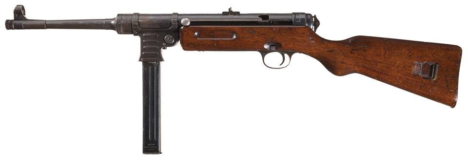 Although never adopted by the German military-- who used the more common MP38 and MP40 subguns-- this WWII-era MP41 was manufactured by the C.G. Haenel company and was actually based on Schmeisser patents, so it is deserving of the moniker. This rare 9mm SMG is $30-45K.