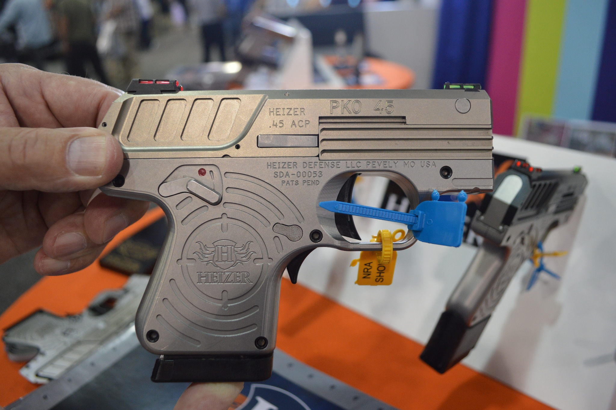 Heizer was also showing off a more practical concealment pistol, the PKO-45. This USA-Aerospace stainless steel frame pistol will be available with both five-round flush or seven-round extended mags. (Photo: Kristin Alberts/Guns.com)