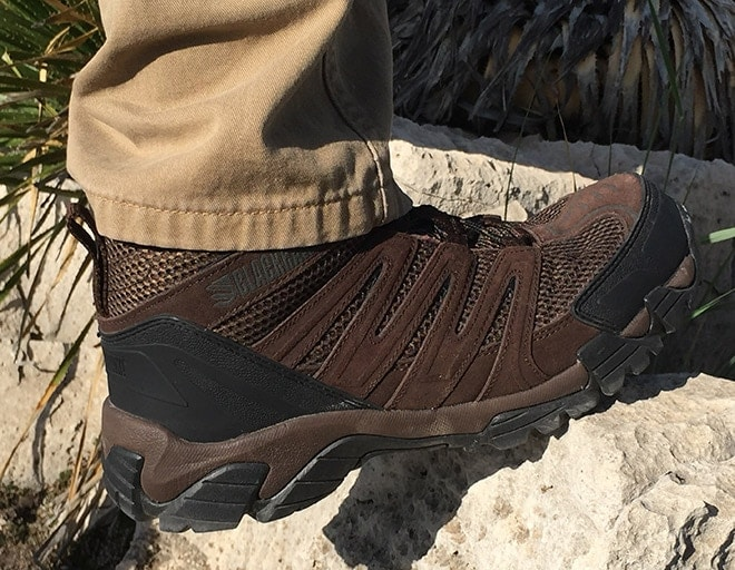 High_sole_material_protects_feet_and_shoes_on_rocky_terrain.
