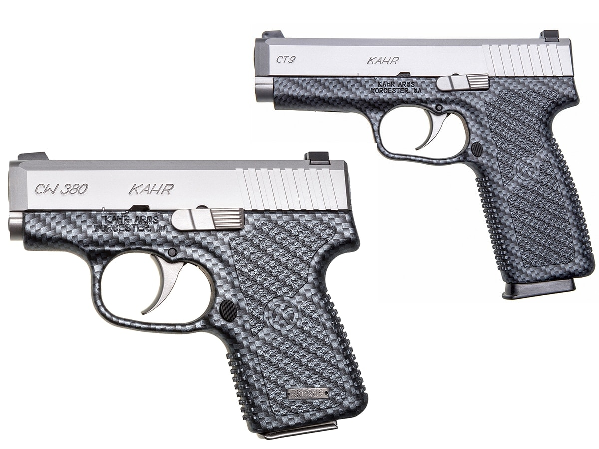 The CT9, top, and the CW380, bottom, in black carbon fiber are the newest pistols to hit Kahr's lineup. (Photo: Kahr)