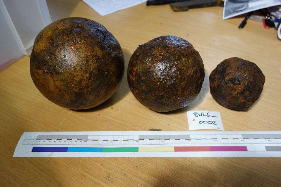 96 cannonballs of various sizes and eras were found