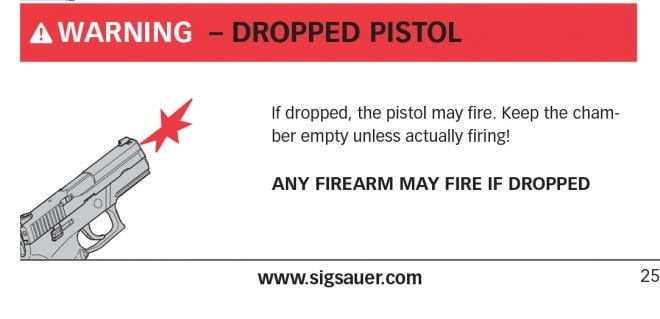 A drop safety warning in the Sig P320 manual. (Photo: TFB)