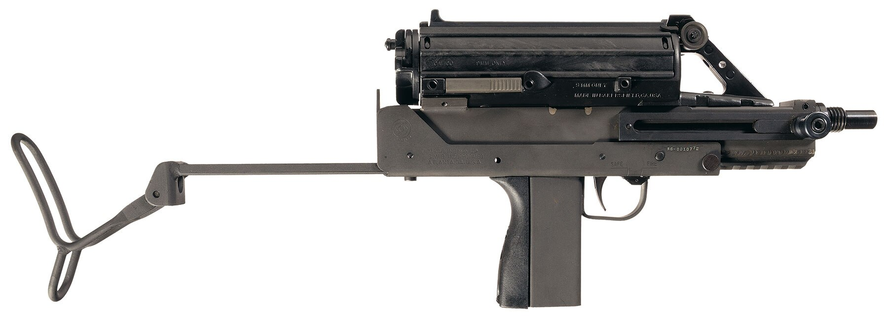 And now for something completely odd, how about an SWD Cobray M-11 subgun that has been converted to fire from a 50-round Calico Liberty helical magazine. Its just $6-9K.