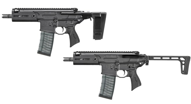 The MCX Rattler is aimed at military and LE sales, offering very compact select-fire pistol and SBR formats for the .300 BLK cartridge. (Photo: SIG)