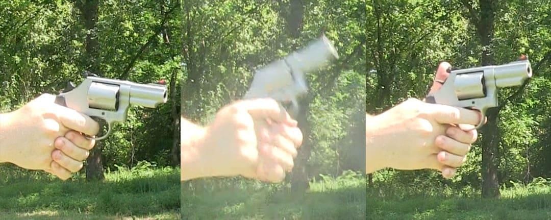 The muzzle flip of the .44 Magnum.
