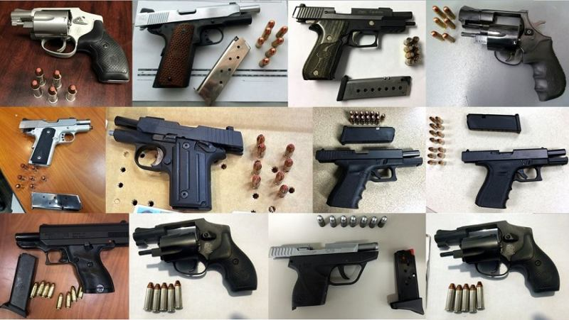 A one-week record 96 guns were discovered in carry-on luggage in airports throughout the country. Of those firearms, 85 were loaded and 26 had a round chambered. (Photo: TSA)