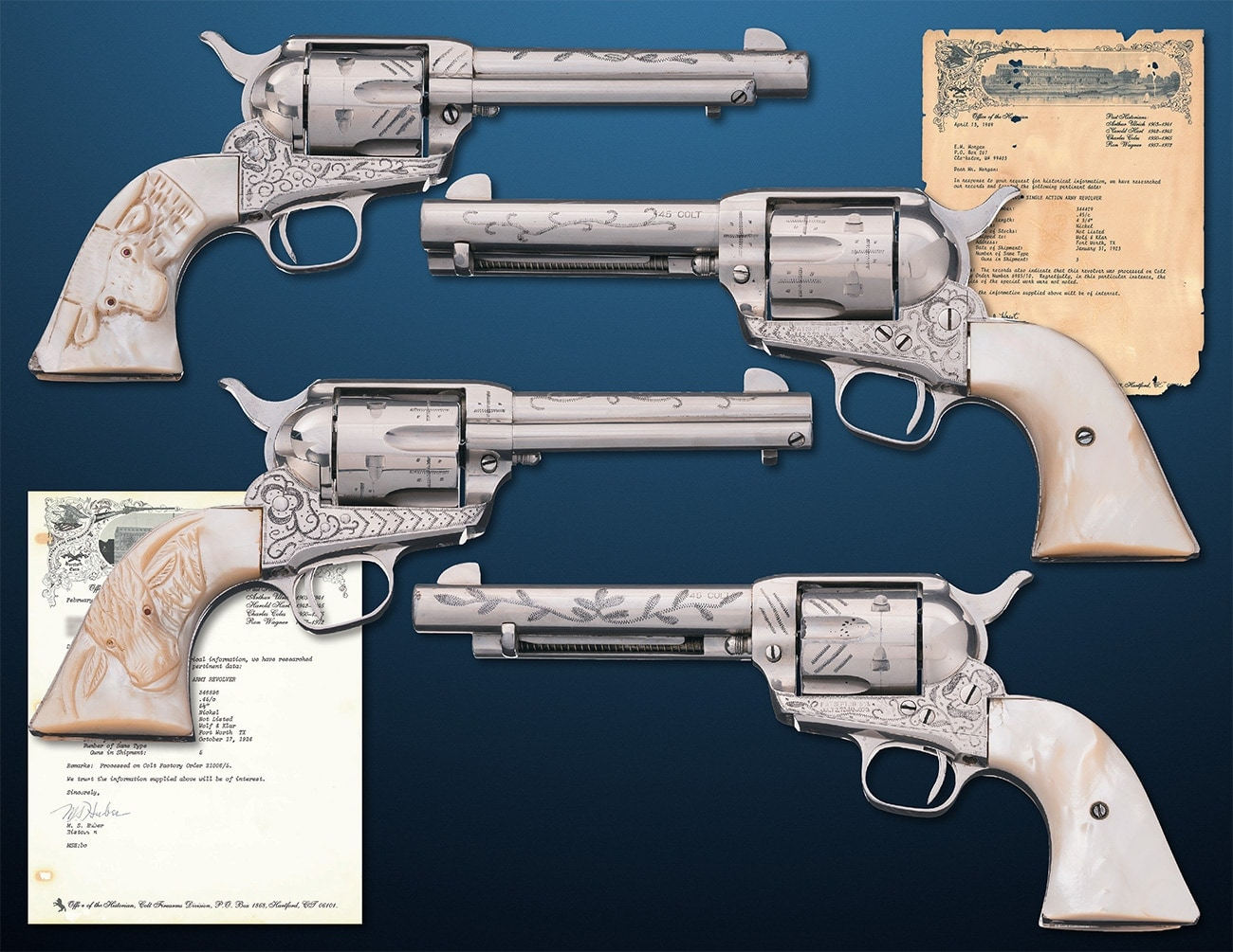 This pair of Wolf & Klar Engraved Colt Single Action Army revolvers dates from 1924 and the pearl grips include a carved steer head with ruby red eyes on the right side. $14,000 - $22,500. If you are just looking for one, RIA has a 1929 single for about half the price. https://www.rockislandauction.com/detail/71/1228/wolf-and-klar-engraved-nickel-plated-colt-single-action-army#detail