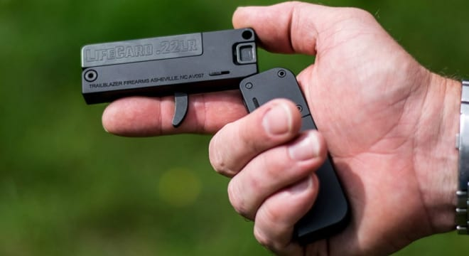 """Based in Asheville, North Carolina, Trailblazer's credit card-sized rimfire is billed as """"The last gun you'll leave behind."""""""