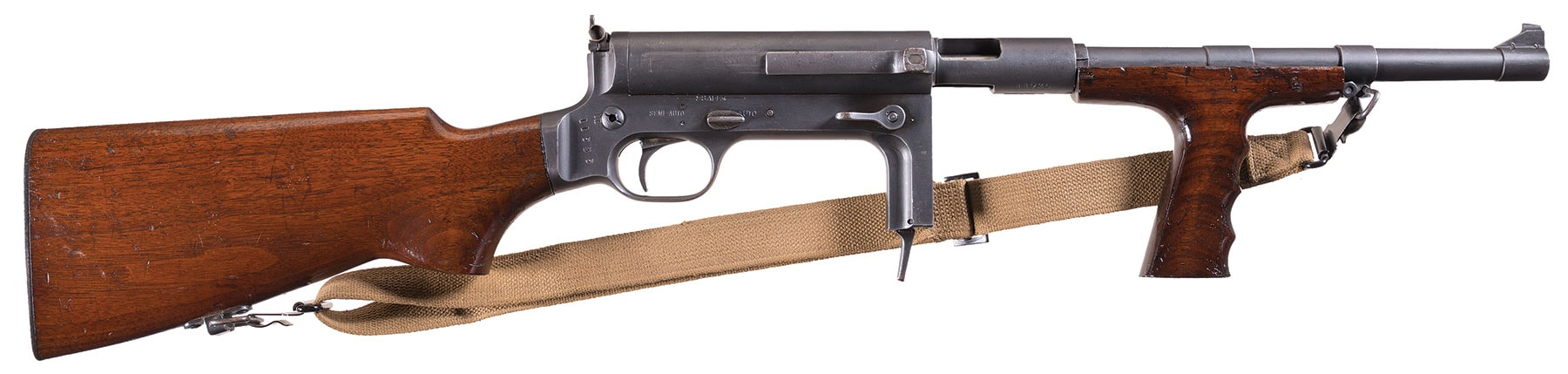 """Though it is marked """"United Defense Supply Company"""" this Model UD M.42 9mm submachine gun was actually manufactured by the Marlin Firearms company for contracts in WWII. Most went overseas and never came back, making these pretty scarce today. Estimated Price: $12,000 - $18,000"""