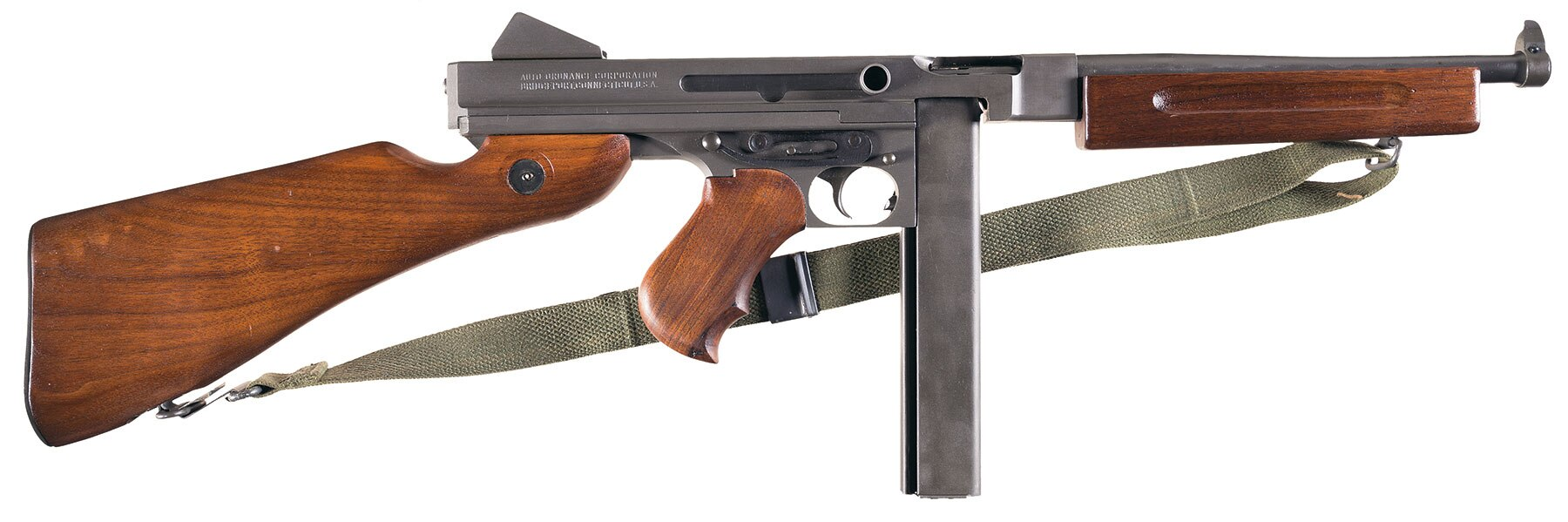 If you want something less well-marked, there is this beautiful World War II U.S.-inspected Auto-Ordnance M1A1 for about half the price.