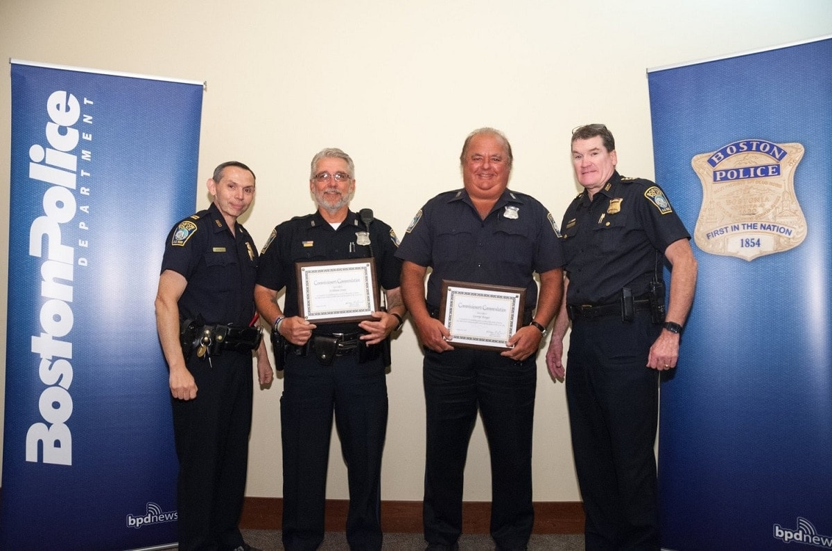 Boston Police officers George Kayes and William Jones were both awarded with a Commissioner's Commendation for peacefully disarming an agitated man with two loaded guns. (Photo: BPD)