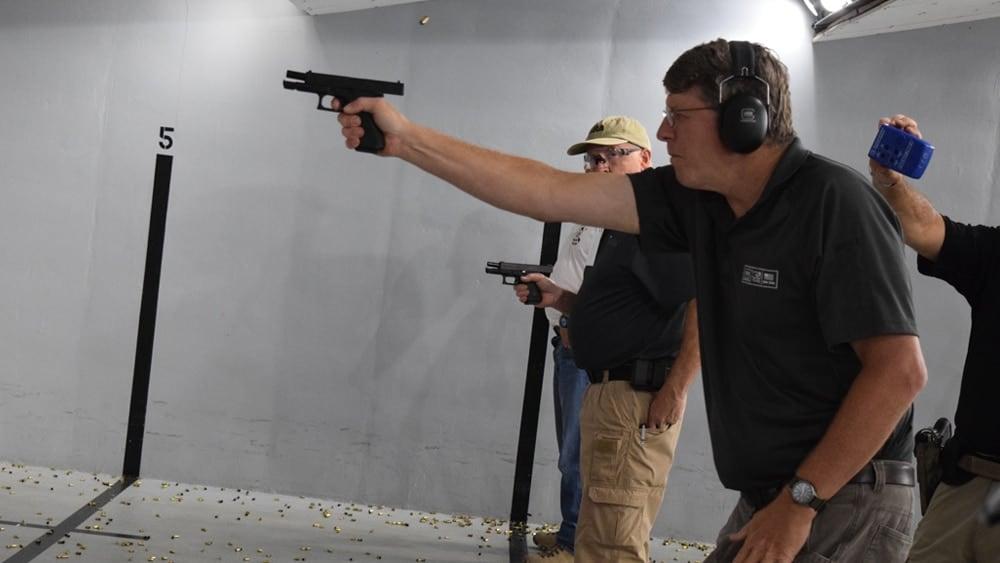 Glock vice president Josh Dorsey shooting a G19 Gen 5 model at the company range