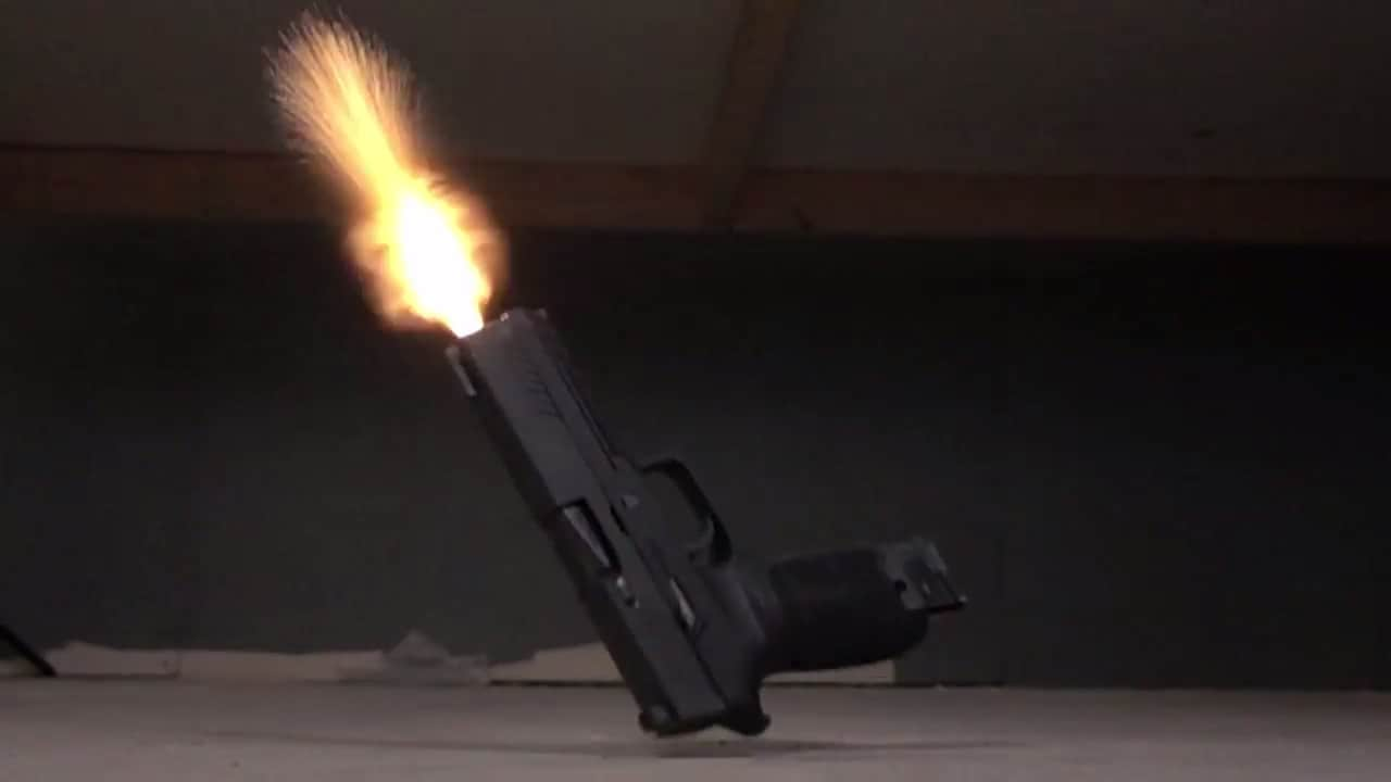 The Sig P320 firing during a drop test conducted by Omaha Outdoors. (Photo: Omaha Outdoors via YouTube)