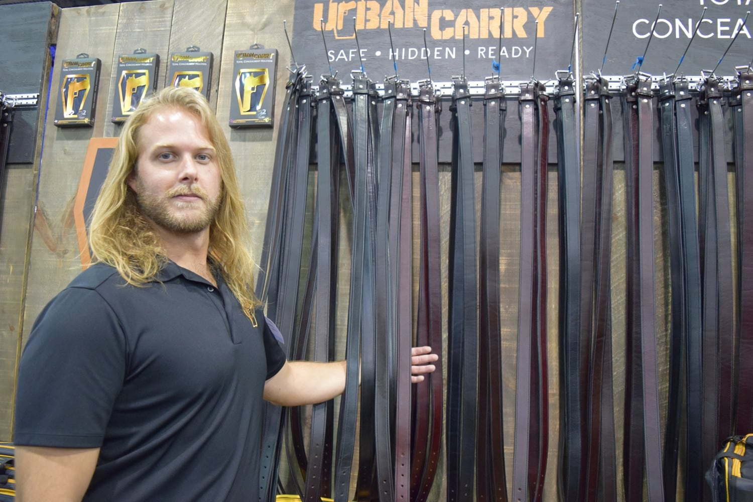 Plenty of belts at Urban Carry. The spokesman says the leather holds up so well that they outlast the buckle. (Photo: Daniel Terrill/Guns.com)