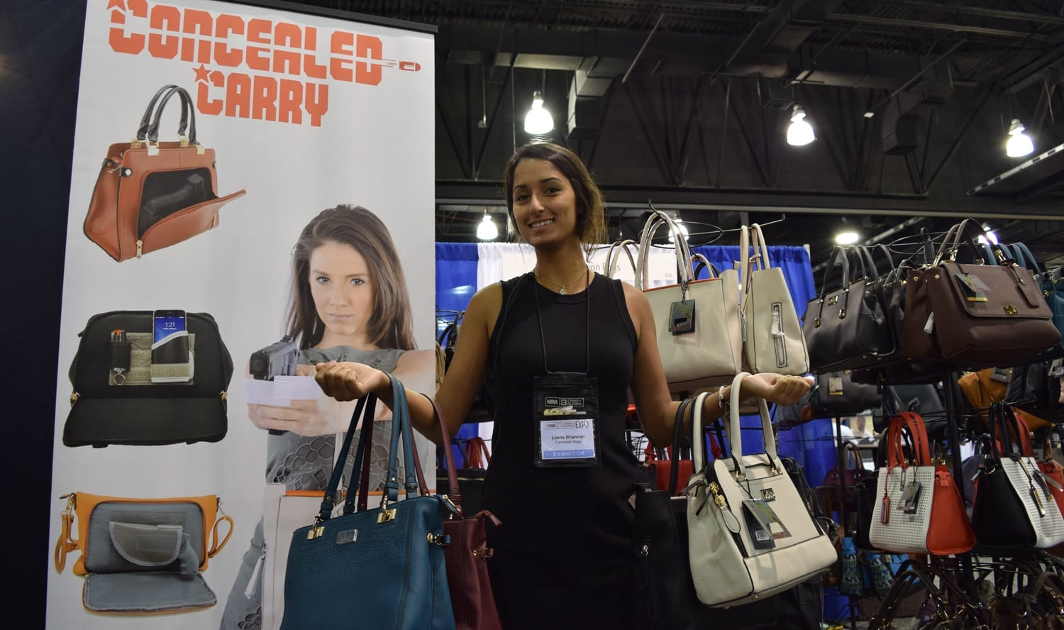 Bags, bags and more bags at Cameleon Bags, a concealed carry purse maker. (Photo: Daniel Terrill/Guns.com)