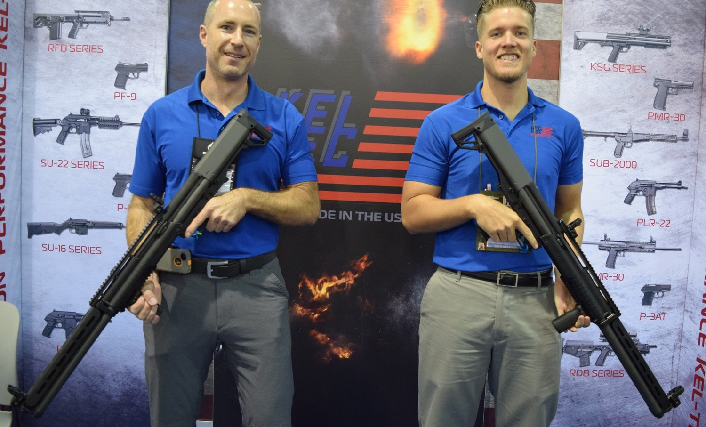 The Kel-Tec boyz from Cocoa, Florida, showing off the newest KSG variants. (Photo: Daniel Terrill/Guns.com)