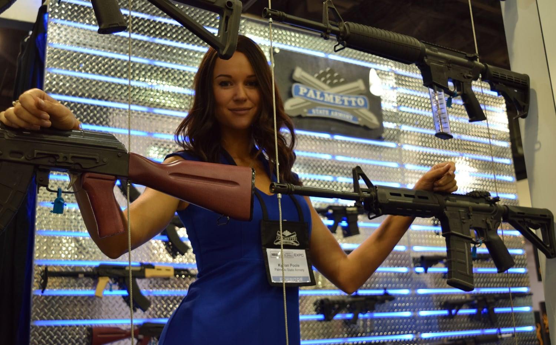 Palmetto Armory's model poses with the South Carolina gun maker's guns. (Photo: Daniel Terrill/Guns.com)