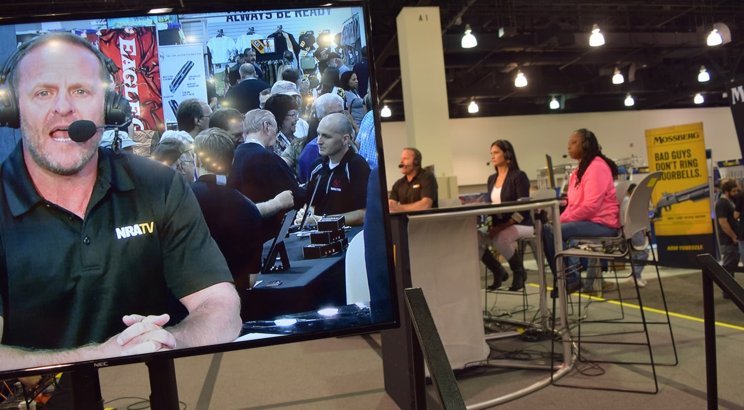 A completely calm NRATV host Grant Stinchfield reads from a teleprompter before a live audience. (Photo: Daniel Terrill/Guns.com)