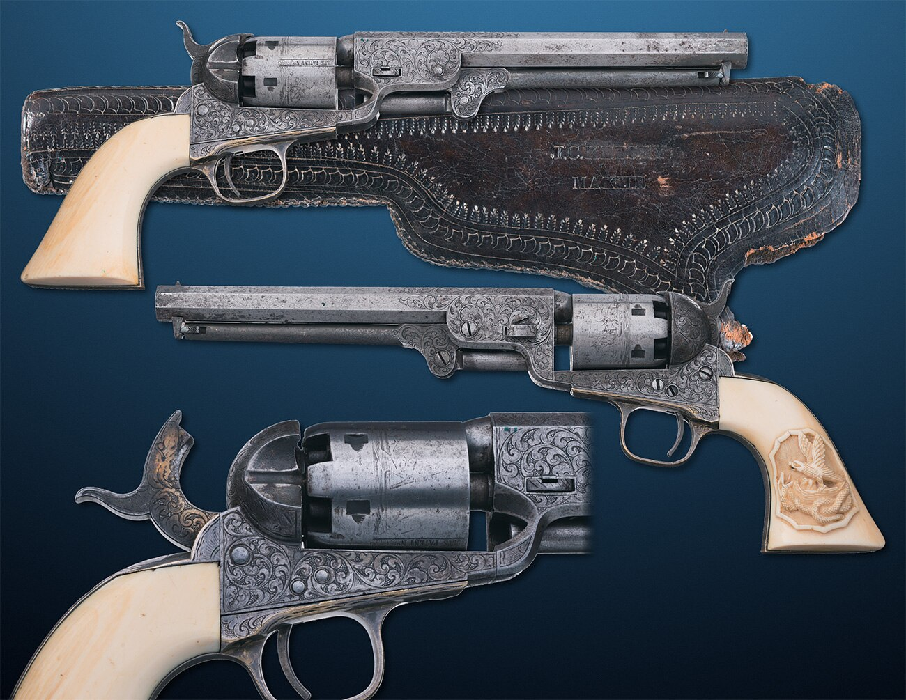 This fourth variation Model 1851 Navy revolver includes a California-style holster and features engraving likely do be done by the famed Gustave Young.
