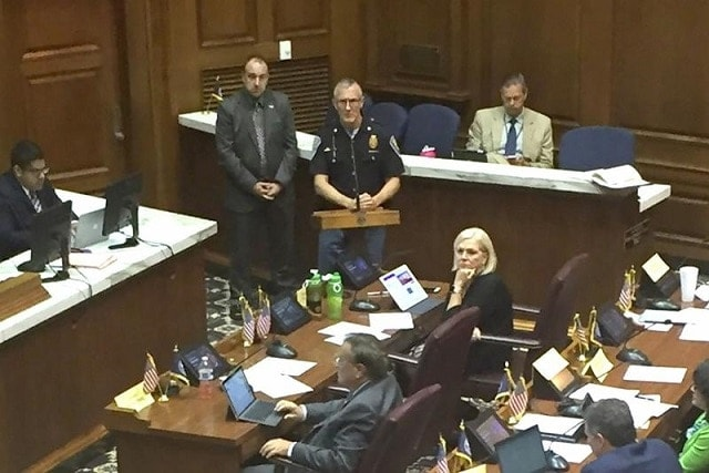 Indiana State Police Maj. Mike White voiced his opposition to a proposal that would repeal Indiana's permit requirement to carry a firearm. (Photo: Jill Sheridan/IPB News)