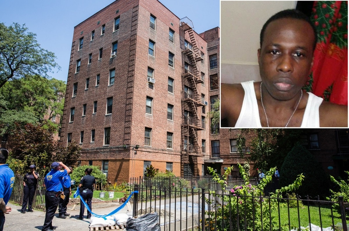 Police at the apartment building where Dwayne Jeune, upper right, was shot in Brooklyn. (Photo: Stefan Jeremiah/Facebook)