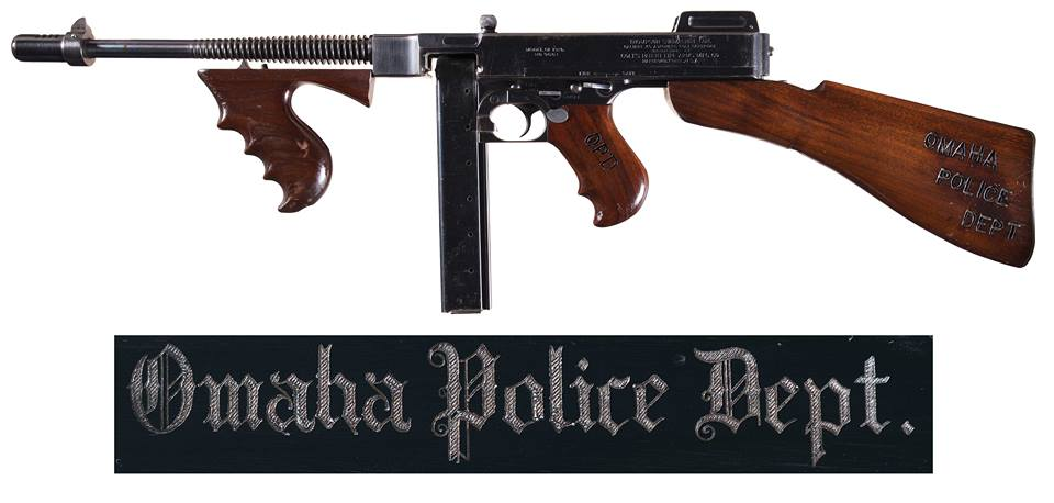 Omaha Chief of Police, John J. Pszanowski bought a 10-pack of early Colt-made Thompson Model 1921 submachine guns in 1930 just in case he ran into characters such as the Dillenger gang and apparently was very proud of these .45ACP Tommy guns-- because this one is has a wealth of department marks. Think of it as character. RIA has no less than six NFA registered Thompsons up for auction, but this one is among the nicest of the litter. Estimated Price-- $27,500 - $42,500.