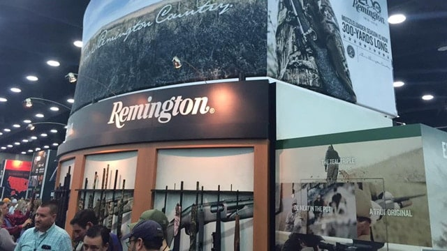 A beehive of activity at the Remington booth during the NRA show in 2016. (Photo: Remington)