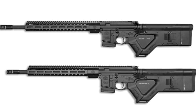 "The models, the FN 15 Tactical Carbine II CA (bottom) and FN 15 DMR II CA (top), both use Hera CQR ""featureless"" stocks and 10-round Magpul PMAGs in a nod to the state's new laws on so-called ""assault weapons."""