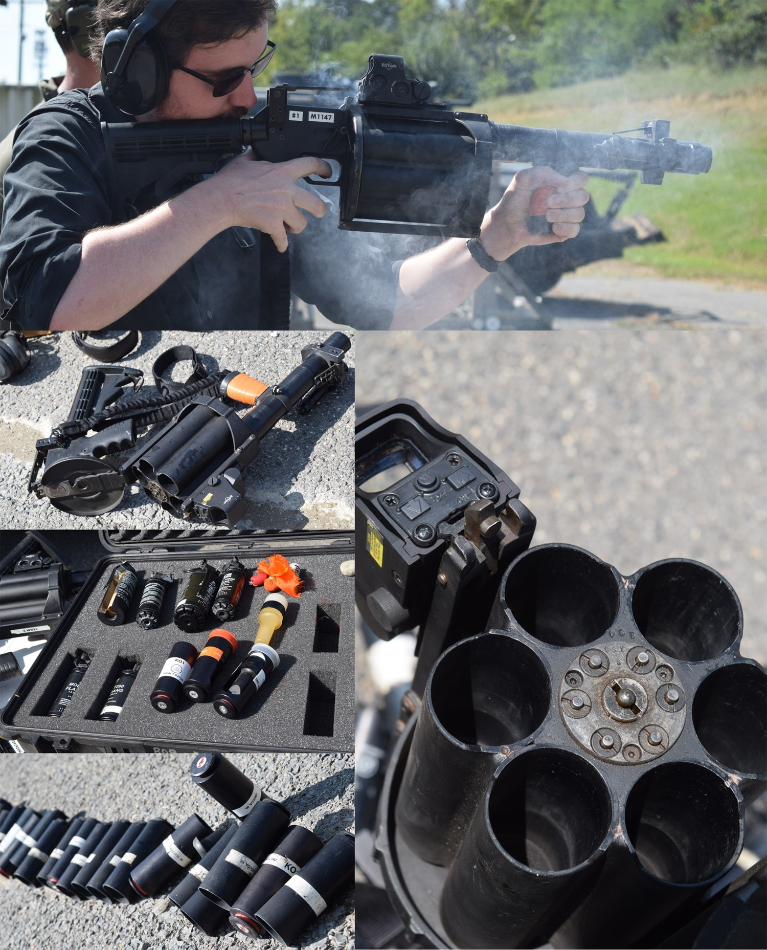 The many sides of a less lethal launcher. The device shoots canisters often containing rubber bullets, but there's a wide range of ammunition. (Photo: Daniel Terrill/Guns.com)