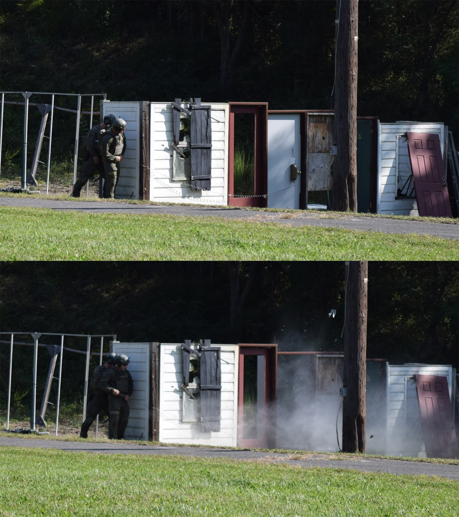 ATF SRT agents demonstrate how to breach a door with explosives. The explosive device is essentially detonation cord sandwiched between a water bottle and an IV bag. (Photo: Daniel Terrill/Guns.com)