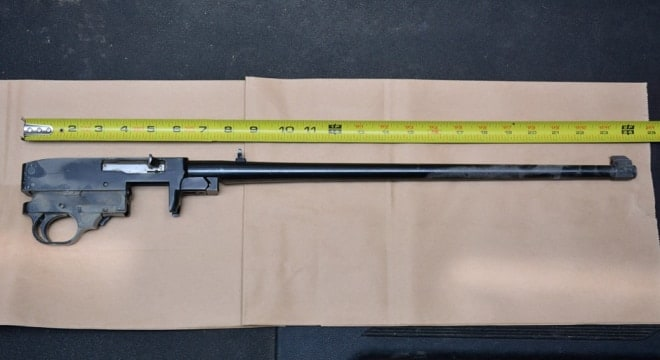 An image of the recovered Ruger 10/22, sans furniture, magazine, and stock, shows it at 24-inches long overall. (Photo: Fresno Police)