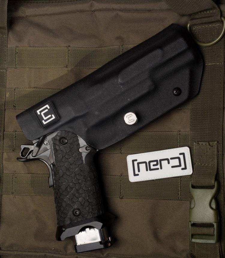 The NERD holster is designed to work alongside STI's NERD Coffin Pistol in 3-gun competitions. (Photo: STI International)