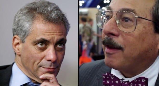 Chicago Mayor Rahm Emanuel and Alan Gottlieb, founder of the Second Amendment Foundation (Photos: Reuters/Guns.com)