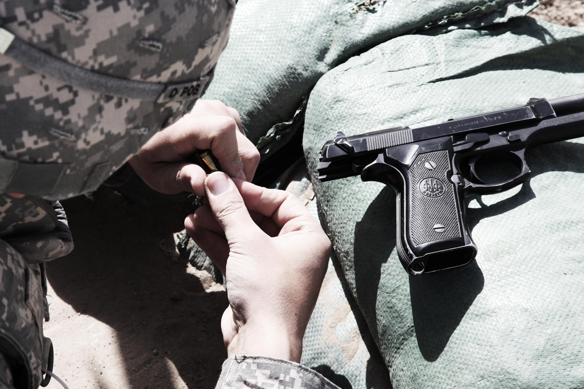 A soldier works with the M9 in the field. (Photo; DVIDS)