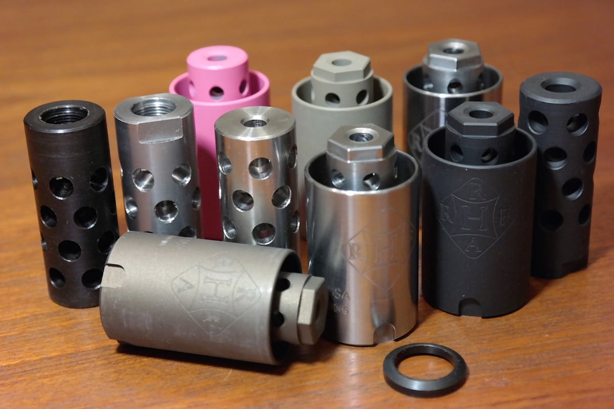 The muzzle brakes comes in a variety of finishes and colors. (Photo: RHF)