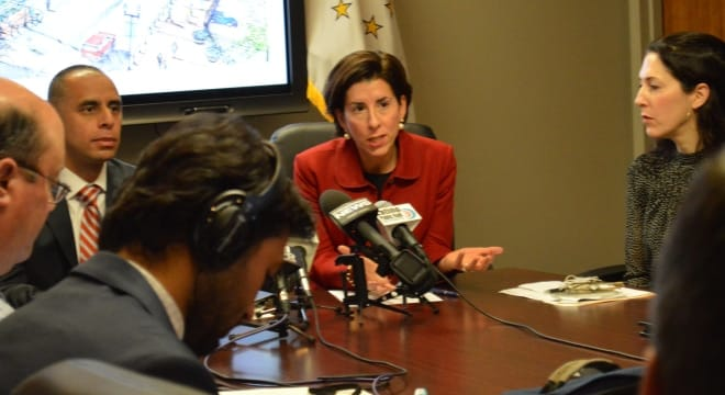 Gov. Gina Raimondo (D), seen in this 2016 file photo, will soon review a bill to seize guns from domestic abusers and those with protective orders (Photo: RI Governor's Office)