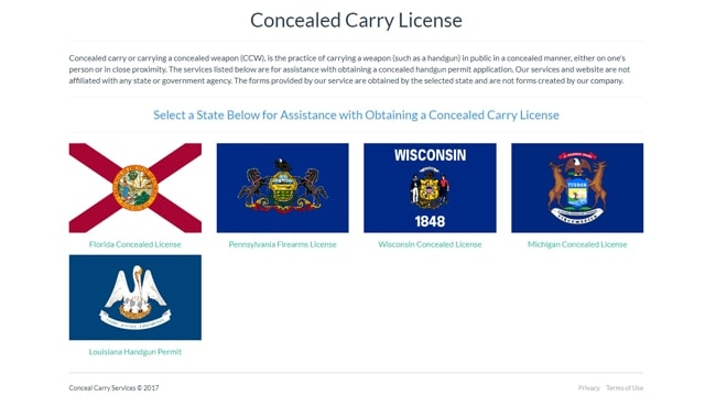 A sheriff in Pennsylvania warns the website, www.concealcarryservices.com, is a scam. (Photo: Screenshot/concealcarryservices.com)