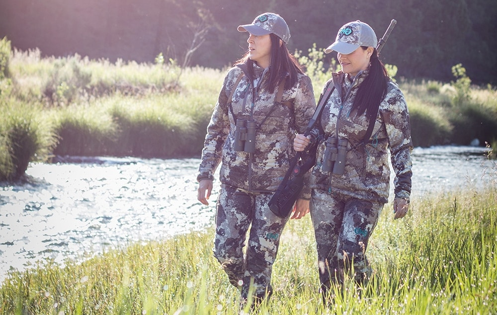 Girls with Guns founders Norissa and ___ showcase the new Veil Alpine series. (Photo: Girls with Guns)