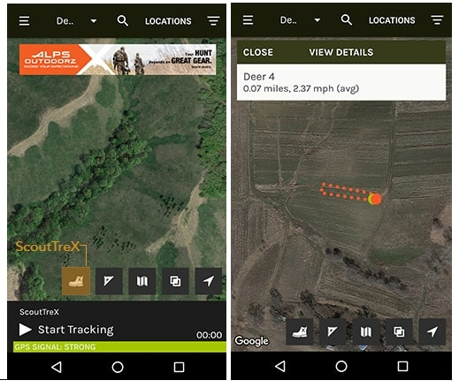 The ScoutTreX feature allows hunters to track their movements on screen. (Photo: ScoutLook Weather)