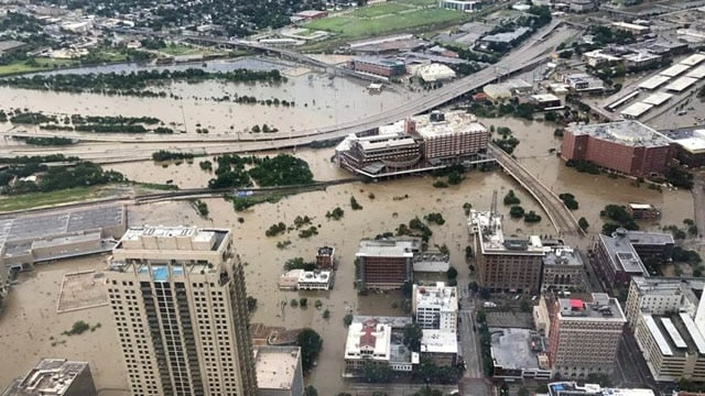 Flooded downtown is seen from JP Morgan Chase Tower on Aug. 27. (Photo: Christian Tycksen/Reuters)