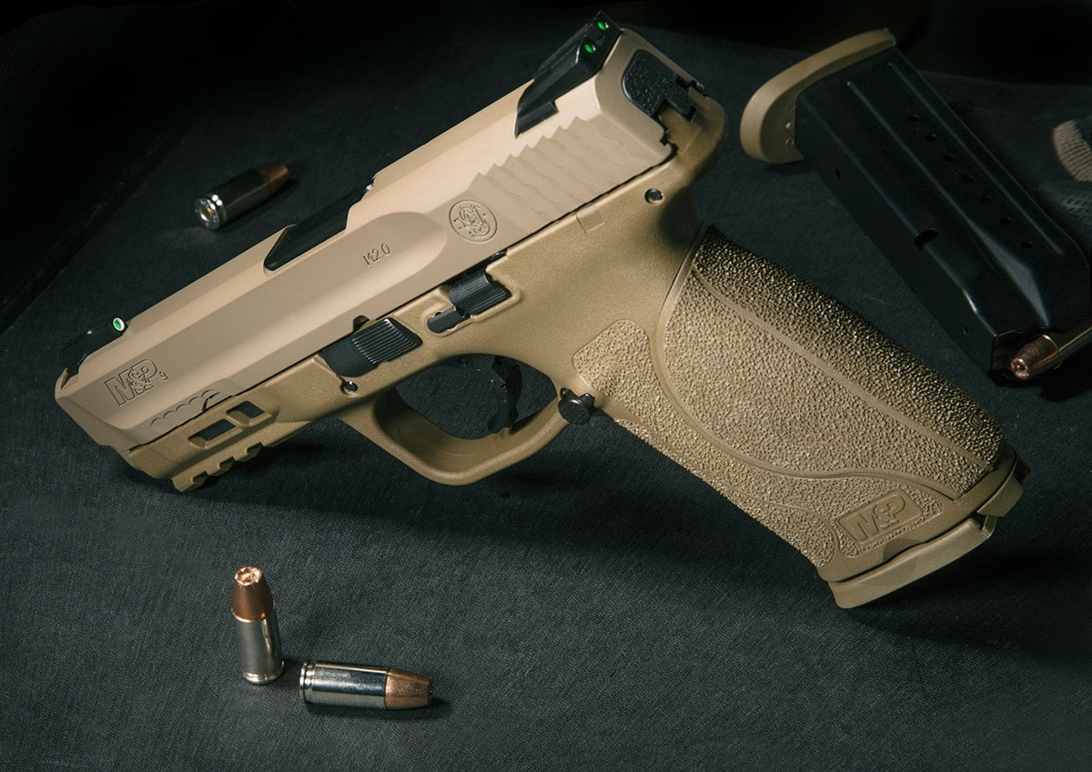 The newest M2.0 serves up Truglo TFX sights on a FDE frame. (Photo: Smith & Wesson)