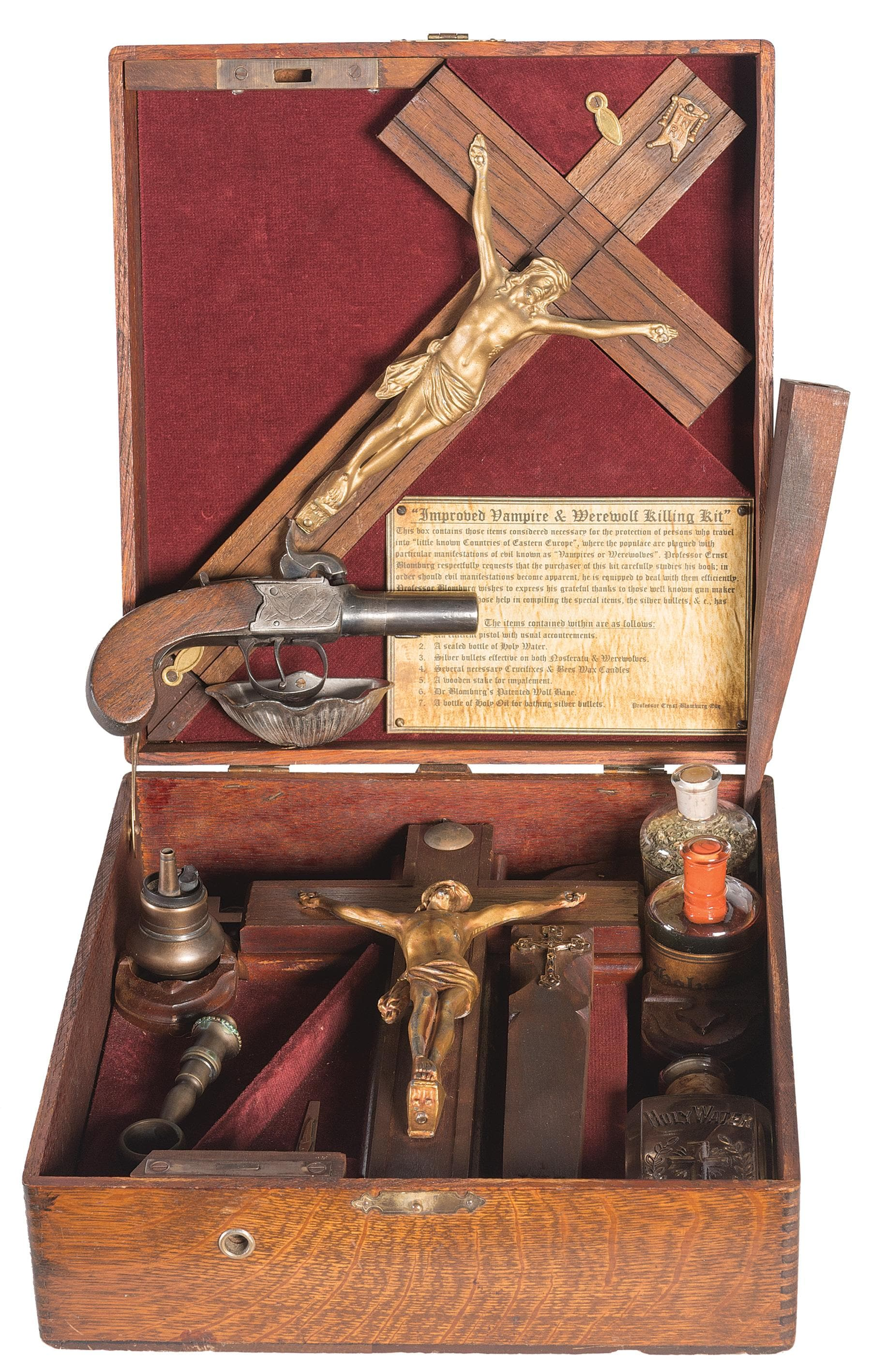 "This .44 caliber percussion Scott pistol sold by Rock Island included ""3 crucifixes (one cannot be too careful), bottle of black wolfsbane, bottle of holy oil, bottle of holy water, wooden stake and rosary."" It went for $2,875 https://www.rockislandauction.com/detail/1029/6102/vampire-and-werewolf-hunting-kit-with-percussion-pistol"