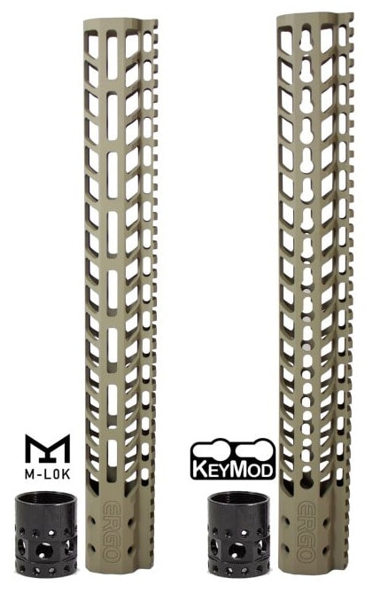 The new Superlite free float rails are available in M-LOK and KeyMod. (Photo: Ergo)