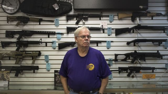 Fred Flesche, owner of Shooting Sports of Tampa, told the Tampa Bay Times Obama was the best gun salesman. Gun sales declined 25 percent across the state in September, according to federal data. (Photo: Charlie Kaijo/Tampa Bay Times)