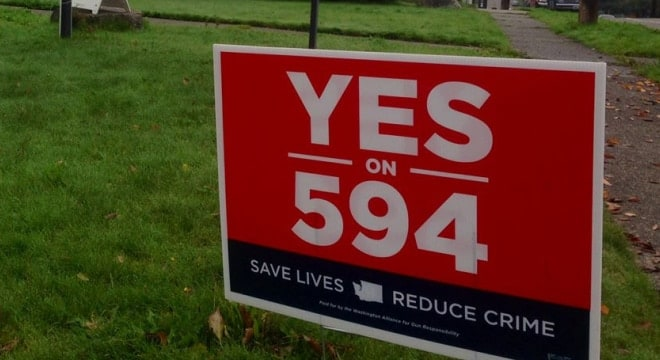 The argument heard this week centered on I-594, a 2014 voter referendum that expanded background checks to cover virtually all gun transfers in Washington. (Photo: Alliance for Gun Responsibility)